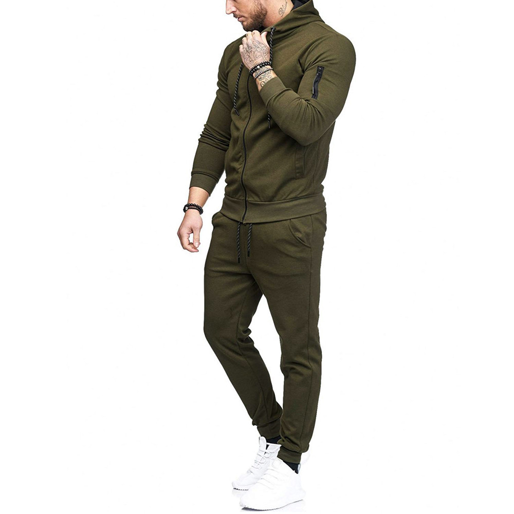 HTB1GRU.w mWBKNjSZFBq6xxUFXaW 2019 fashion Patchwork Zipper Sweatshirt Top Pants Sets Sports Suit solid color slim Tracksuit High Quality Pullover clothing