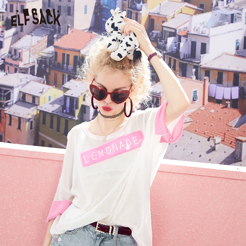ELFSACK 2019 Summer Loose Casual Women Sweaters Fashion Letter Print Female Tops O-Neck Half Sleeve Oversized Woman's Clothing
