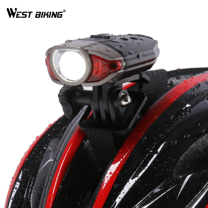 WEST BIKING Waterproof Bike Helmet Light USB Rechargeable Bicycle Handlebar Lights Safety Road Bike Mountain Cycling Front Light west biking taillight rechargeable 7 models smart usb waterproof ce rhos fcc msds certification cycling bike bicycle tail light