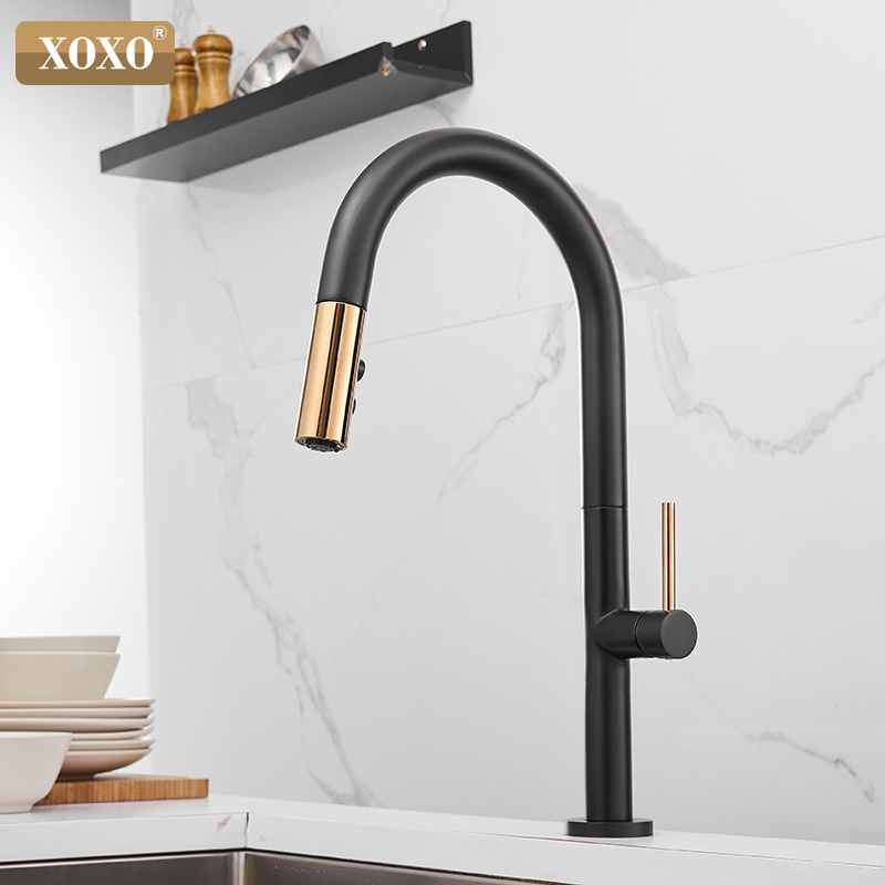 XOXO Kitchen Faucet Pull Out Cold And Hot Mixer Tap Black White Water Single Holder Faucet Kitchen Sink Faucet 1345