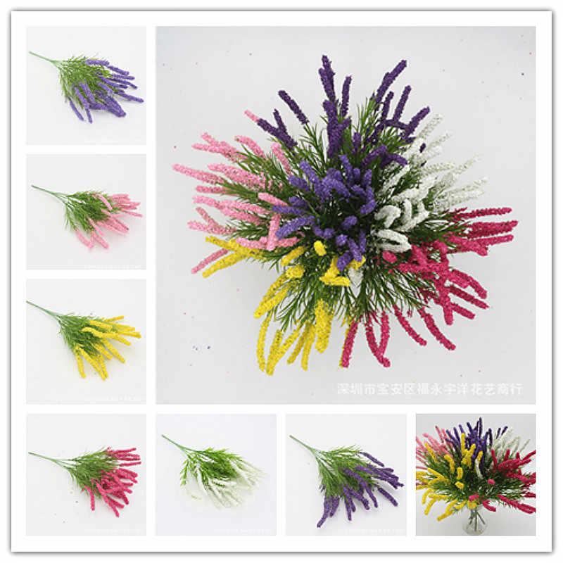 SUEF 1 pcs Bonito Novo 7 garfo-espuma de lavanda lavanda imitação falso flor de plástico flor decoração do casamento de espuma flor @ 2