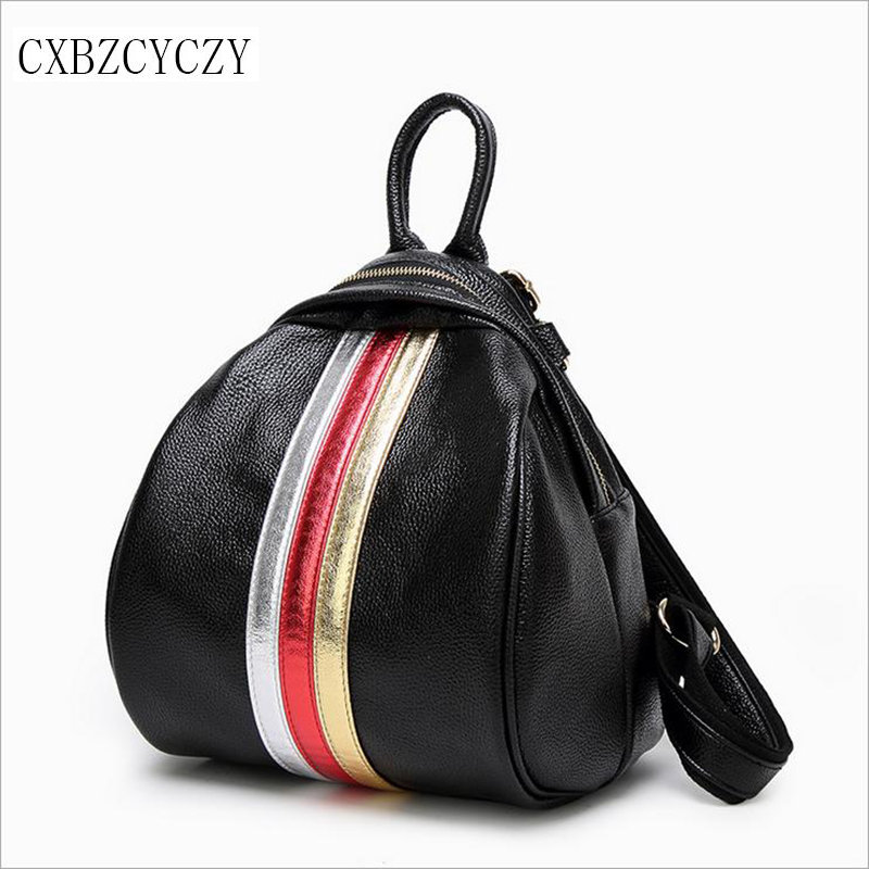 2017 Style Cowhide Genuine Leather Backpack Women Bags Backpack Girls School Bags Zipper ...