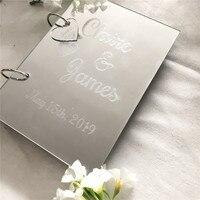 Оригинальное акриловое зеркало Серебряная Свадьба Гостевая книга персонализированные имя Свадебная вечеринка Гостевая книга вечерние ук...