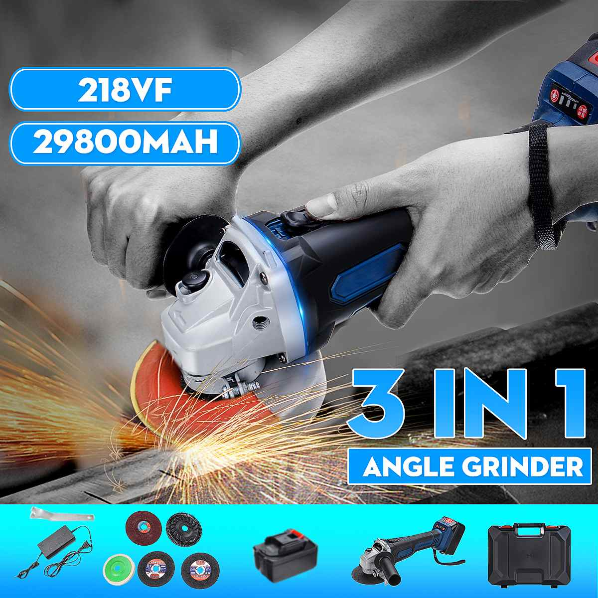 218vf 29800ma Cordless Brushless Electric Angle Grinder Polishing Grinding Cutting 3 in 1 Machine Power Cutting Tool218vf 29800ma Cordless Brushless Electric Angle Grinder Polishing Grinding Cutting 3 in 1 Machine Power Cutting Tool