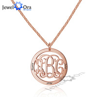 Trendy Personalized 925 Sterling Silver Monogram Necklace Unique Names DIY Best Friend Gift With Box (JewelOra NE101561)