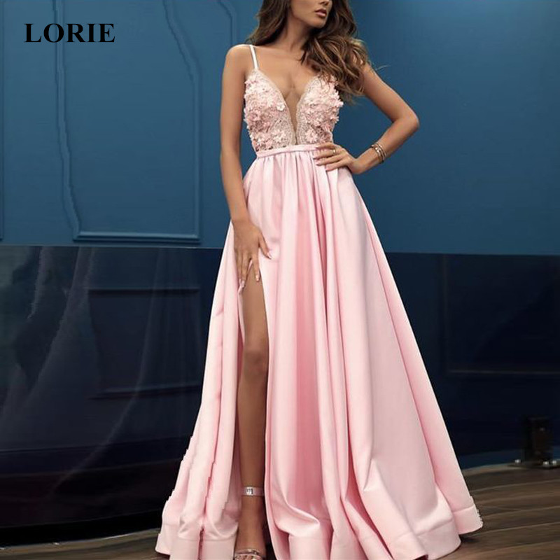 LORIE 2019 New V neck Sleeveless Split Prom Party Dress Flowers with Appliques A Line Backless