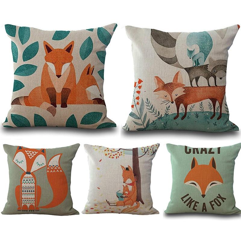 Nordic Cute Cushion Cover Fox Children Linen Decorative Cushion Covers for Sofa Pillow Case Funda Conjin Almofadas