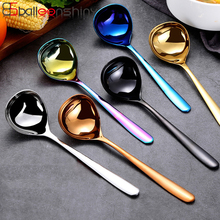 BalleenShiny Stainless Steel Large Spoon Long Handle Colorful Soup Porridge Round Head Scoop Gifts Kitchen Hotel Tableware