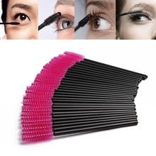 NEWCOME 50pcs/pack Disposable Eyelash Brush Individual Lash Removing Brush Mascara Wands Applicator Eyelash Comb Make Up Tools цена