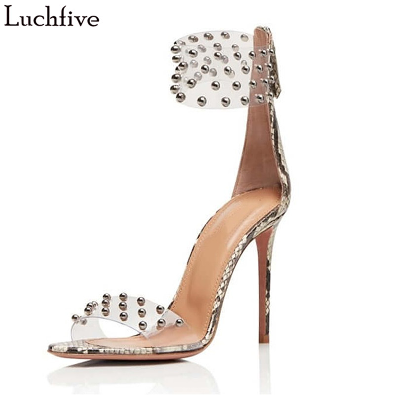 Luchfive Clear Band Metal Beads Studded Sandals Women Genuine Leather 10 cm High Heels Party Dress