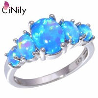 CiNily Authentic 925 Sterling Silver Created Blue Fire Opal Wholesale For Women Jewelry Wedding Party Ring