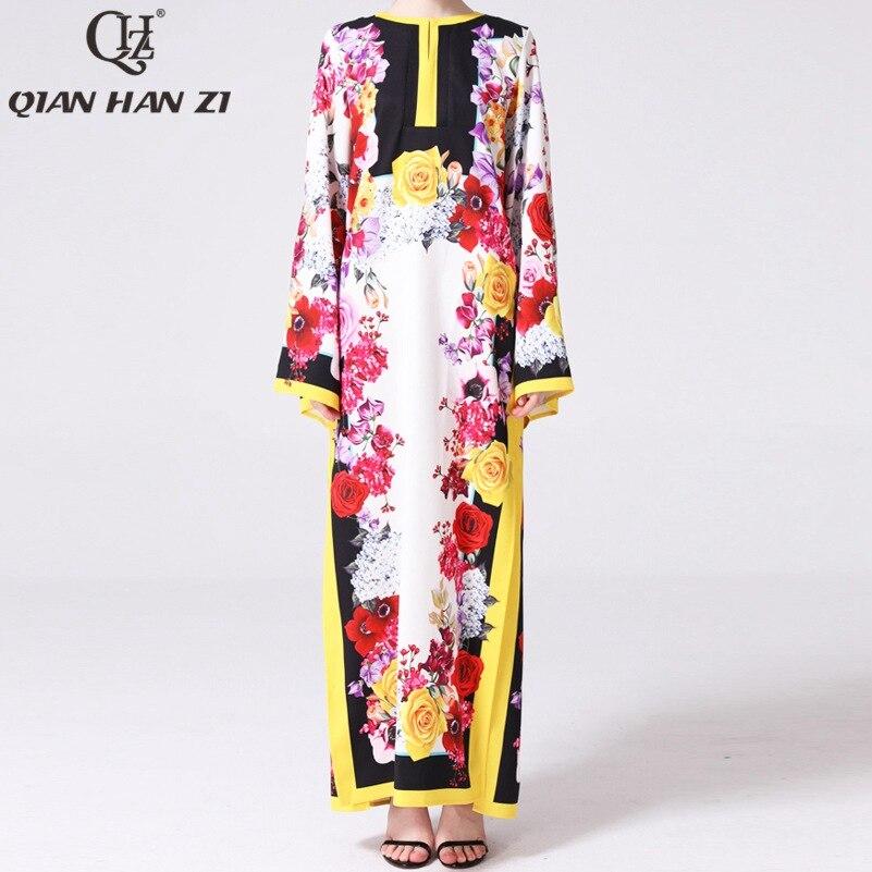 Qian Han Zi 2019 projektant modna długa suknia damska Flare rękawem kwiatowy Print w stylu Vintage plaża eleganckie luźne wysoka podziel sukienka w dużym rozmiarze w Suknie od Odzież damska na  Grupa 1