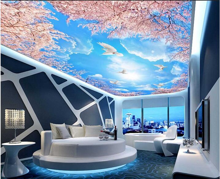 Custom photo 3d wallpaper Non-woven mural 3 d frescoes on the blue sky white clouds cherry trees sky ceiling wallpaper blue sky чаша северный олень