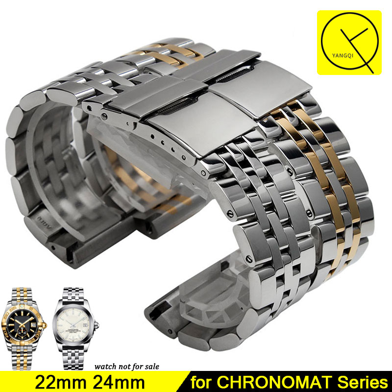 Stainless Steel Watchband for Breitling CHRONOMAT Watchband 22mm 24mm Watchstrap Bracelet Wrist Silver Watch Replacement+Tool stylish 8 led blue light digit stainless steel bracelet wrist watch black 1 cr2016