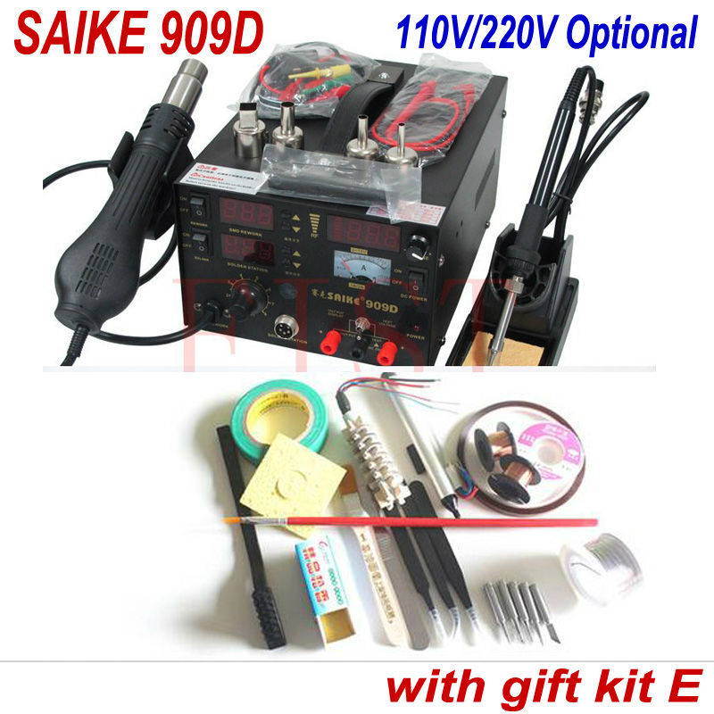 Electric Soldering Iron Saike 909d Hot air gun soldering station dc power supply 3 in 1 220V or 110V with free gift E