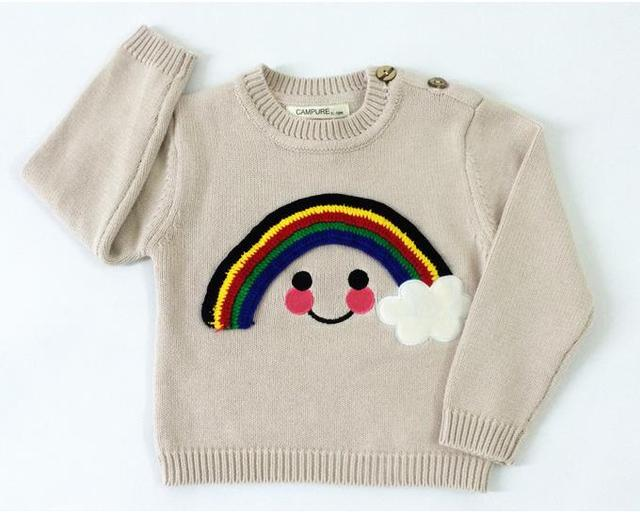 Hot Rainbow Smile Autumn Spring Knit Sweater Child O-neck Jumper For Boys Girls Pullover Sweaters Children Clothing  AS-1580