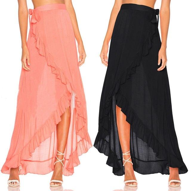 94093a5eea HIRIGIN Brand Women Chiffon Beach Cover Up Wrap Maxi Split Skirt Summer  Long Dress Swimwear Skirt