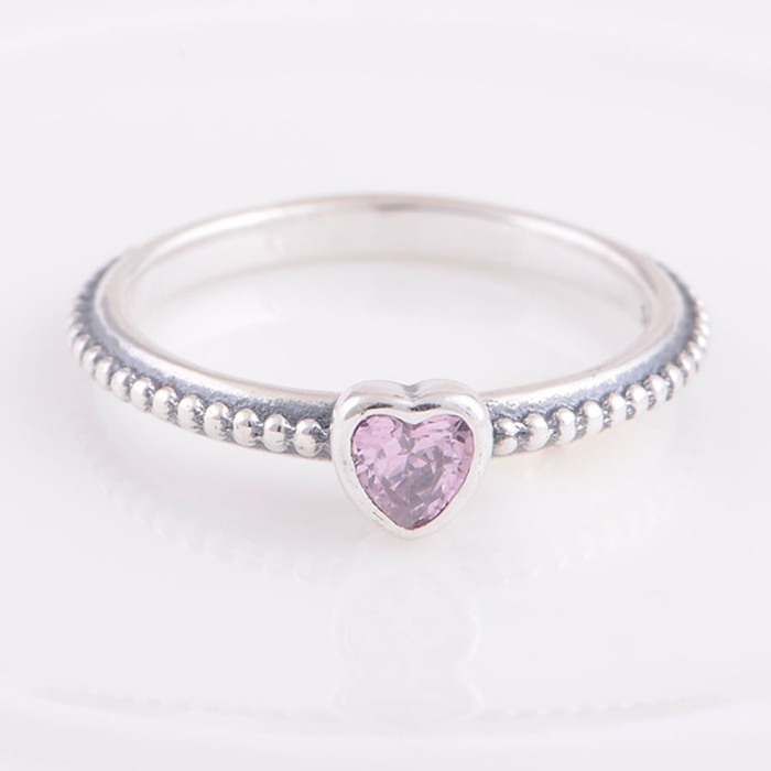 60c5dcb69 Delicate Heart ring with Pink CZ Ring in 925 Sterling Silver Engagement  Rings Compatible with Pandora Style Fashion Jewelry-in Rings from Jewelry  ...