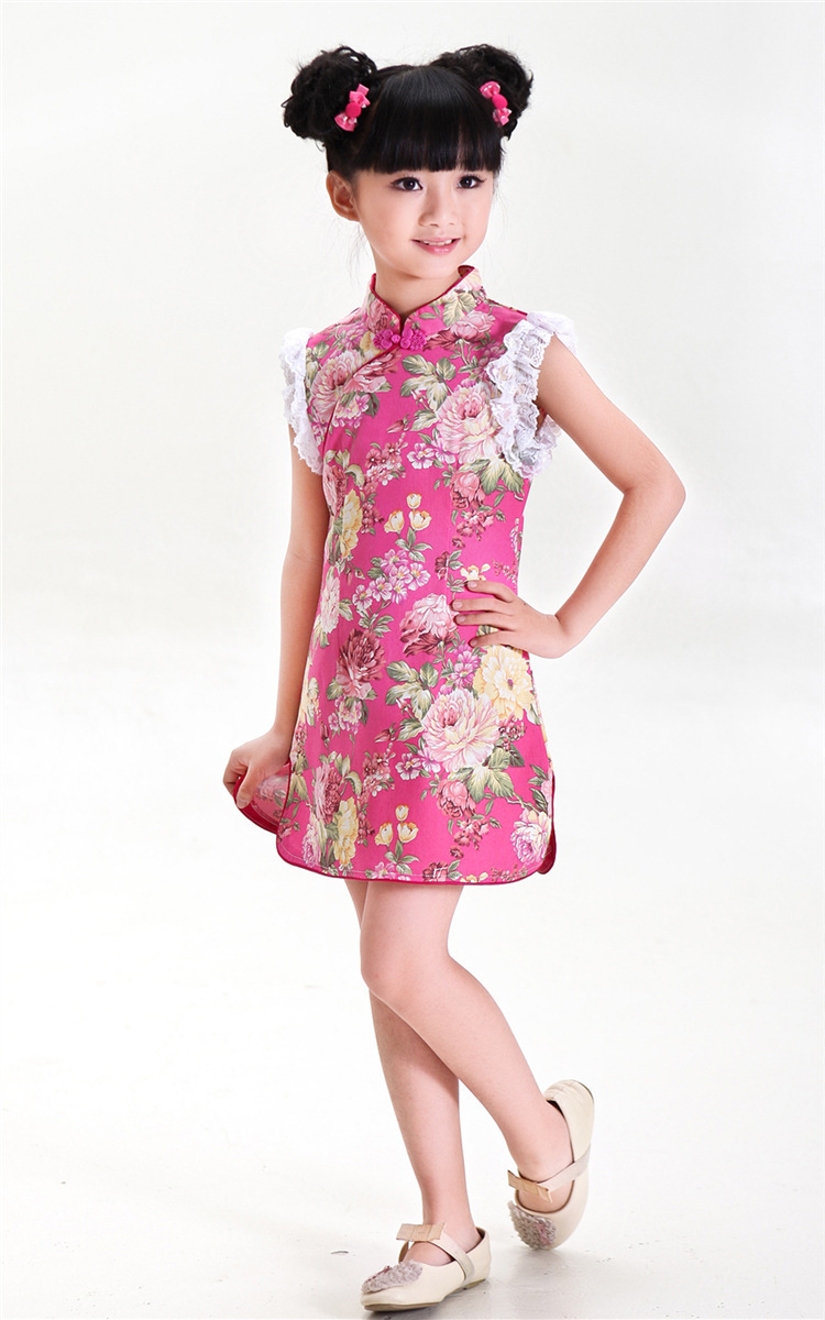 new year new arrive traditional chinese kid child girl lace floral
