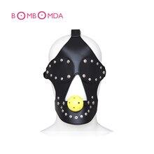 Leather Harness Head Bondage Eye Mask Headgear Hollow Ball Mouth Gag Fetish Blindfold Sex Toys For Couples Bondage