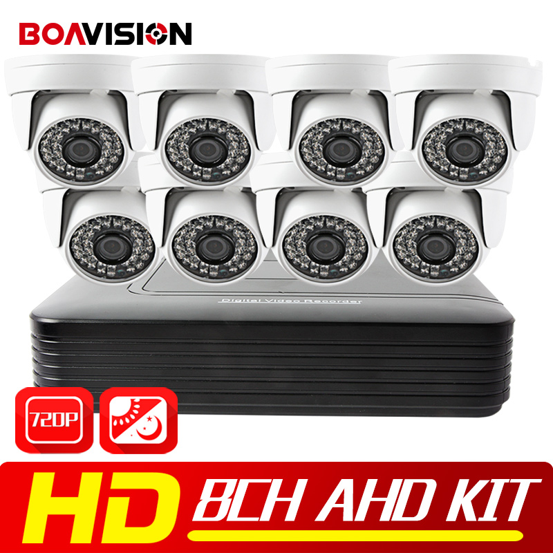 8CH CCTV Camera System 720P AHD DVR 8PCS 1200TVL Dome IR 20M Night Vision 1280*720 HD Security Camera Video Surveillance Kits hd 720p 1080p dome ahd camera 1mp 2mp cmos security video hd analog camera night vision ir 20m cctv camera for ahd dvr