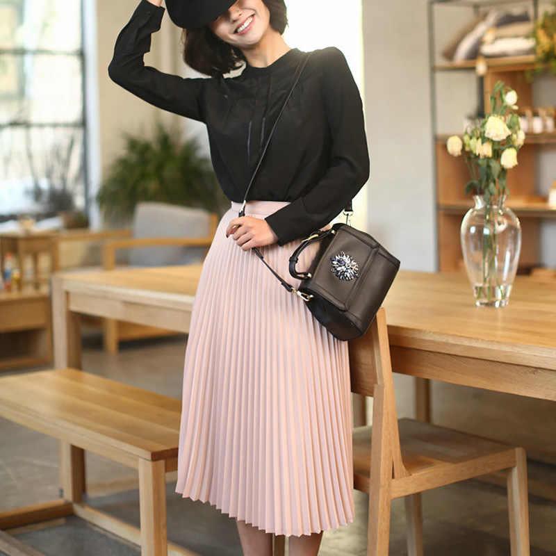 Musim Semi dan Musim Gugur Baru Fashion Wanita High Waist Lipit Solid Warna Setengah Panjang Elastis Rok Promosi WANITA HITAM PINK