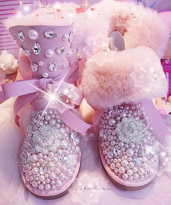 New Sheep Fur One Tender Crystal Flower Pearl Jewel Handmade Snow Boots In The Flat With Round Pink