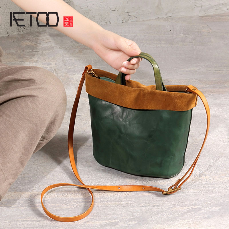 83a4796efc5b AETOO Original design female bag bucket new art leather retro vegetable  tanned portable Messenger