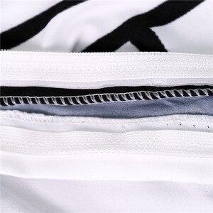 Image 3 - CAMMITEVER Schwarz Weiß Lotus Bettwäsche Set König Druckte Duvet Abdeckung Hause Textilien Mikrofaser Bettwäsche 3 Stück