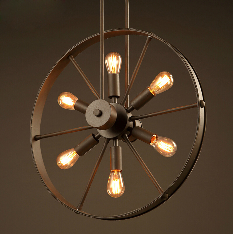 Loft chandelier industrial wind wheel lamp creative Cafe Restaurant personality retro American country Iron Chandelier retro cafe bar long spider lamp loft light industrial creative office the heavenly maids scatter blossoms chandelier