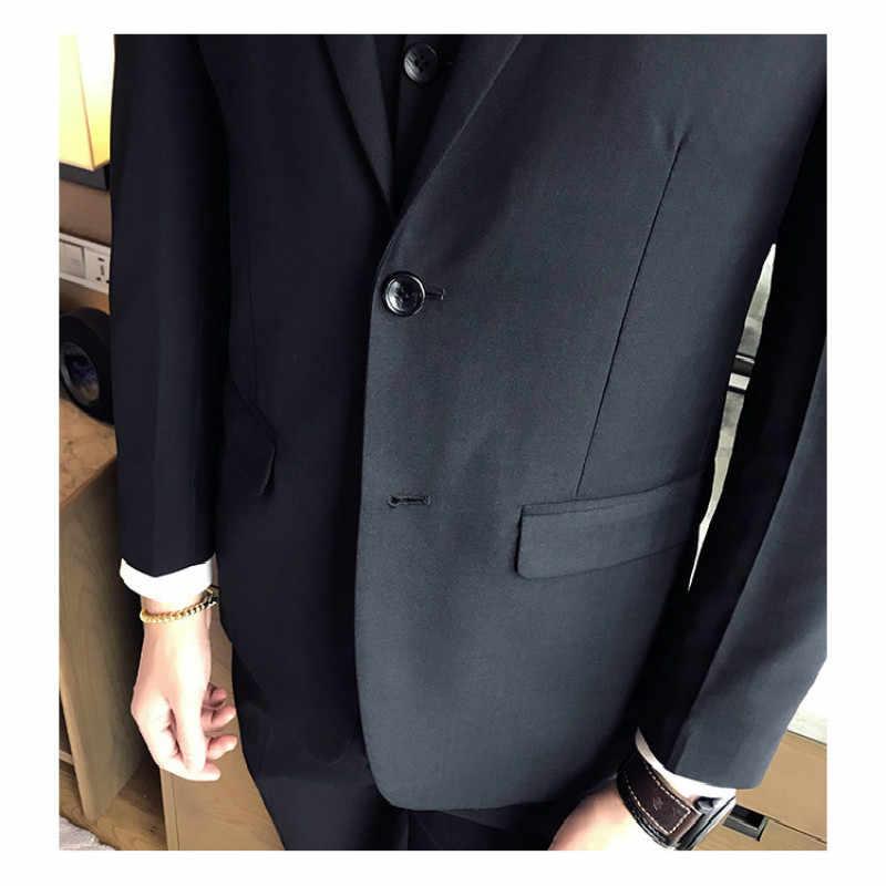 (ジャケット + ベスト + ズボン) 2018 新しいファッション新郎のウェディングドレススーツ/メンズカジュアルビジネススリーピーススーツのジャケットのズボン