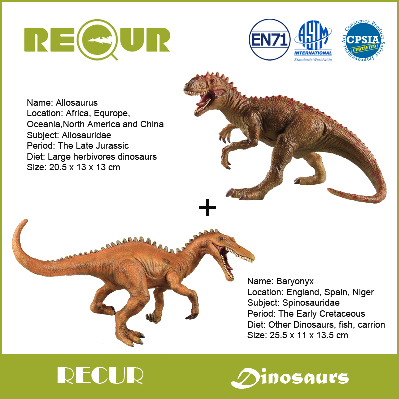 2 pcs/lot Recur Toys Original Design Jurassic Dinosaur Baryonyx +Allosaurus PVC Animal Model Hand Painted Action Figure Soft Toy tri fidget hand spinner triangle metal finger focus toy adhd autism kids adult toys finger spinner toys gags