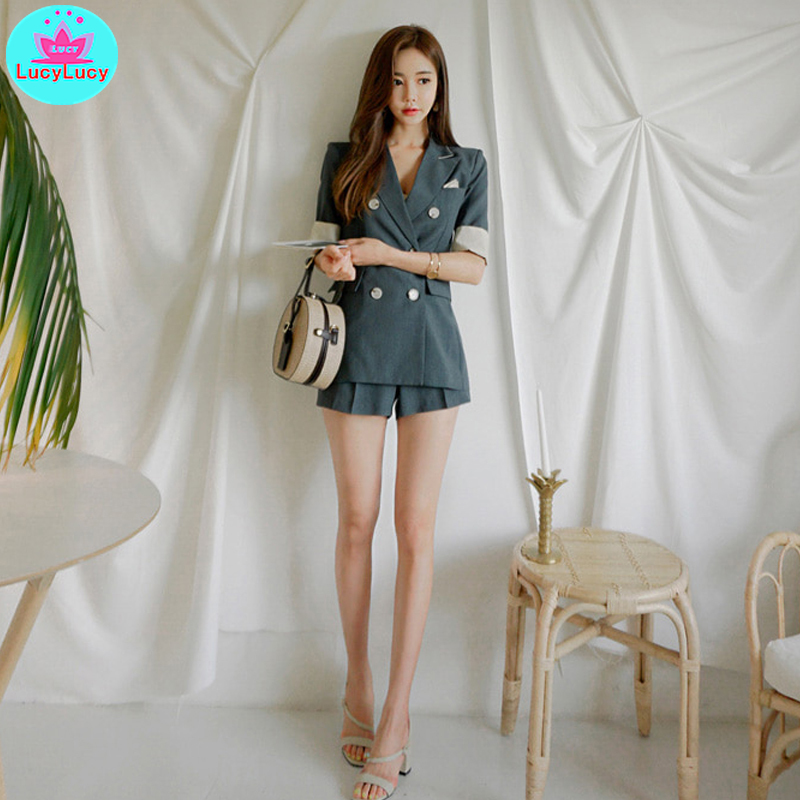 2019 summer new Korean ladies short-sleeved blazer + fashion slim shorts two-piece Pockets  Button