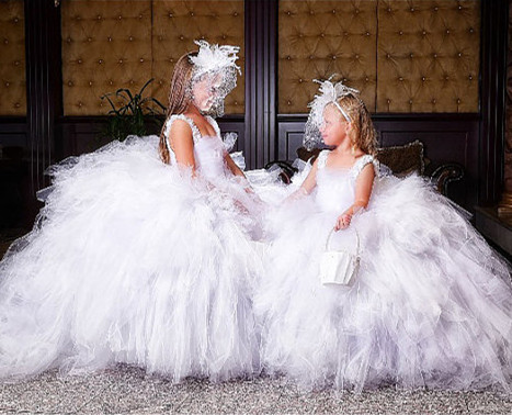 White Puffy Flower Girl Dress for Wedding with Train Girls Birthday Dress First Communion Dress 2017 Ball Gown lovely pink puffy tulle ball gowns with flowers beautiful wedding birthday prom evening dress with train for little girls