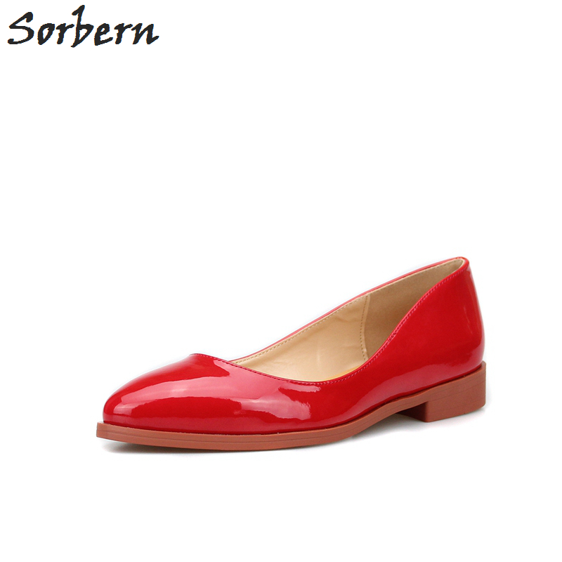 Sorben Pointed Toe Patent Leather Slip On Women Flats Casual Style Ladies Shoes Flat Heels Black/Red Designer Shoes Size 35-43 meotina women flat shoes ankle strap flats pointed toe ballet shoes two piece ladies flats beading causal shoes beige size 34 43