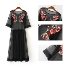 2018 Fashion Summer See Through Black Flower Embroidery Women Dress Three Quarter Sleeve Crew Neck Dresses Women Clothes 2018