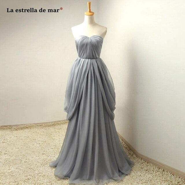 3e051c83bdb La estrella de mar wedding guest dress 2019 hot chiffon grey convertible  bridesmaid dresses long plus size vestido madrinha