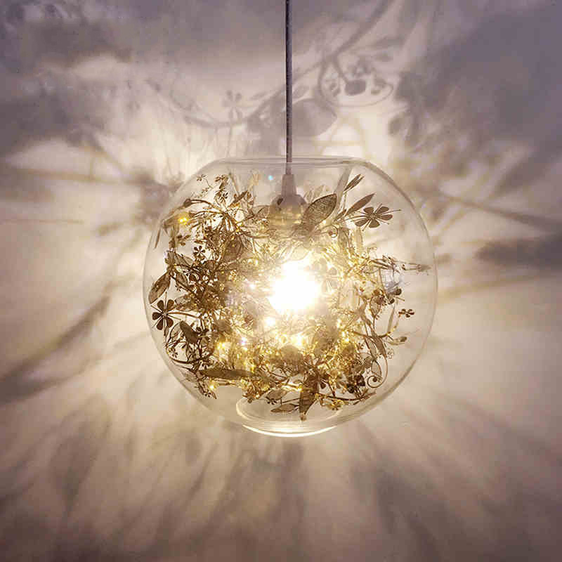 chandelier Gold Silver glass ball Nordic dining room pendant lamps bedroom LED hanging lights loft suspension luminaires