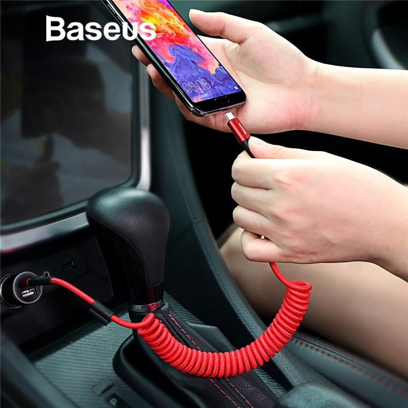 Baseus primavera USB tipo C idea estilo de coche de almacenamiento Flexible 2A Cable de carga USB-C para xiaomi mi 8 tipo-C
