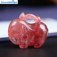 Direct Sales Fine Red Strawberry Natural Crystal Pendants Hand Carved Elephant Pendant Necklace Lucky for Women Men Jewelry
