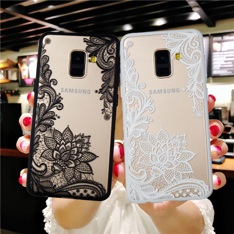 Sexy Lace Retro Flower <font><b>Case</b></font> for <font><b>Samsung</b></font> Galaxy A6 A8 Plus J4 J6 2018 S9 S8 Plus S6 S7 Edge J3 J5 J7 A3 <font><b>A5</b></font> A7 <font><b>2016</b></font> 2017 Cover image