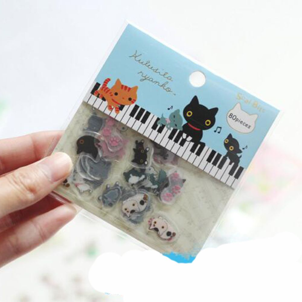 80 Pcs/pack Cute Cat Mini PVC Sticker Cartoon  Decoration DIY Album Diary Scrapbooking Label Sticker Stationery