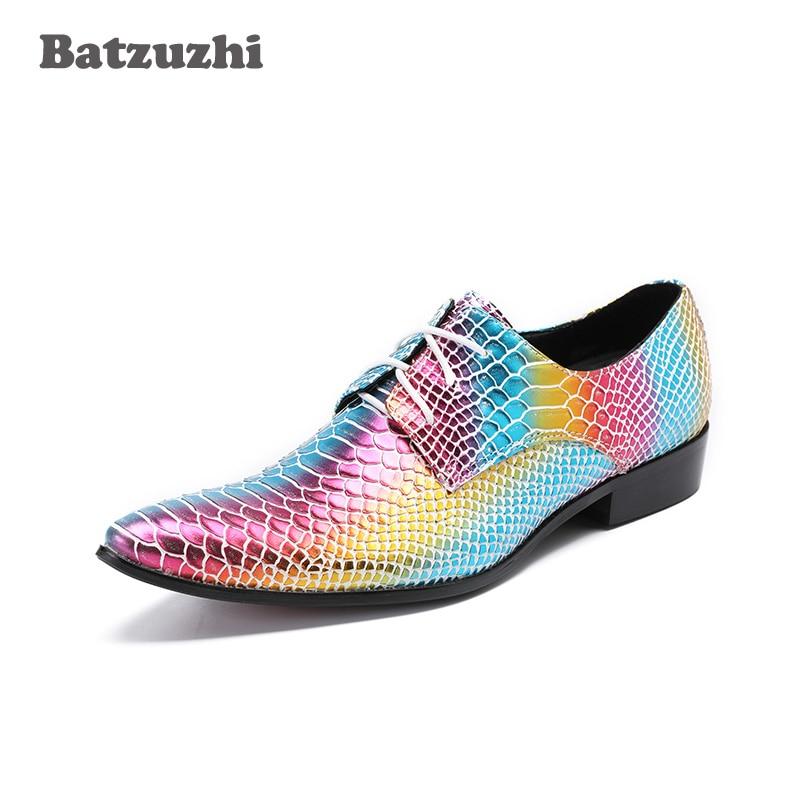 Batzuzhi 2018 New Men Shoes Luxury Handmade Colorful Men