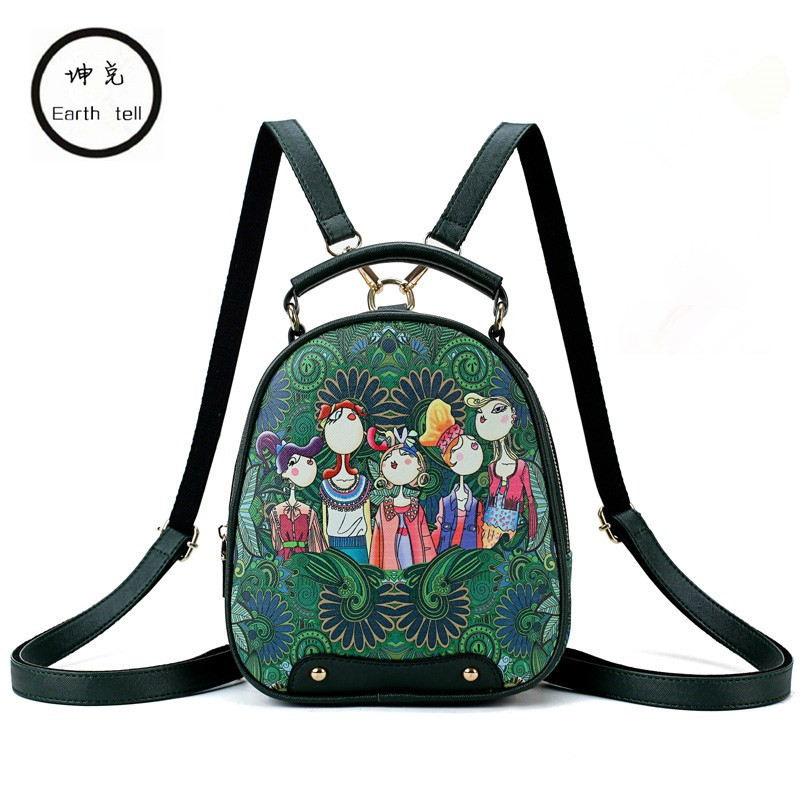 New 3D Printing Bags Backpack Female Luxury Brand Designed Mini Travel Schoolbag PU Leather Women Bag Forest Green Backpacks