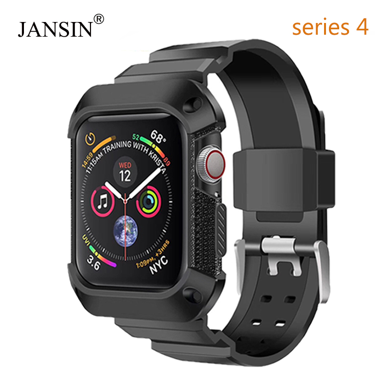 For Apple Watch 4 Case 44mm,JANSIN Rugged Protective Case with Strap Bands for Apple Watch 40mm 44mm Series 4 watch band nanox apple ipod nano watch conversion kit silver case clear strap