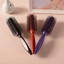 Portable Hair Brush Comb Round Anti-static Curly Brush Natural Bristle Wood Handle Hair Styling Comb Hairdress Brosse Cheveux недорого