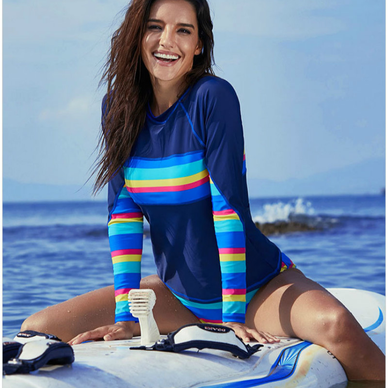 Women Rashguard Sets Swimwear Long Sleeve Two Pieces EU Size Surf Shirts Bottom With Pad Nylon Plus