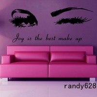 Winking Girl Vinyl Wall Decal Sexy Girl Eyes Beauty Salon Custom Lettering Words Wall Sticker Beauty Shop Decorative Decoration