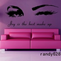 Winking Girl Vinyl Wall Decal Sexy Girl Eyes Beauty Salon Custom Lettering Words Wall Sticker Beauty Shop Decorative Decoration