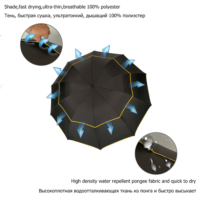 130cm Big Top Quality Umbrella Men Rain Woman Windproof Large Paraguas Male Women Sun 3 Floding Big Umbrella Outdoor Parapluie 2
